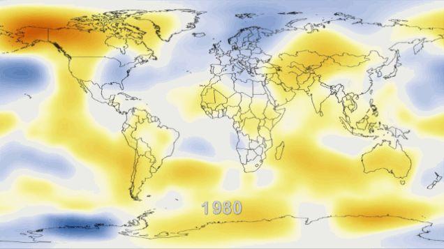 Bild 4: Temperaturveränderungen auf der Welt im Zeitraum 1981 bis 2012 im Vergleich zum Durchschnitt des 20. Jahrhunderts. Dunkelblau: -2 Grad, Dunkelrot: +2 Grad Celsius. (Quelle: NASA GISS)