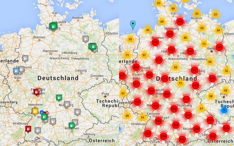 Bild 9: Wasserstofftankstellen und öffentliche Elektro-Ladestationen im Vergleich, Stand Mitte 2016. (Quelle: Google Maps)
